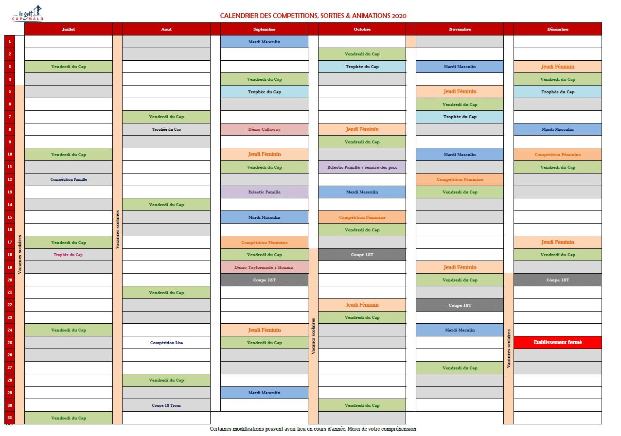 Planning événements fin de saison 2020